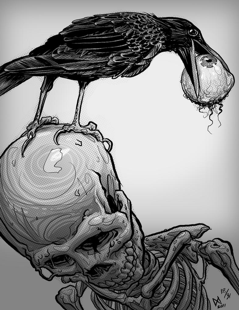crow drawing look twice draw once crow in pen ink crow drawing