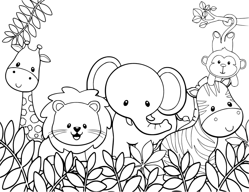cute coloring animal pages cute jungle animals coloring page cute pages animal coloring