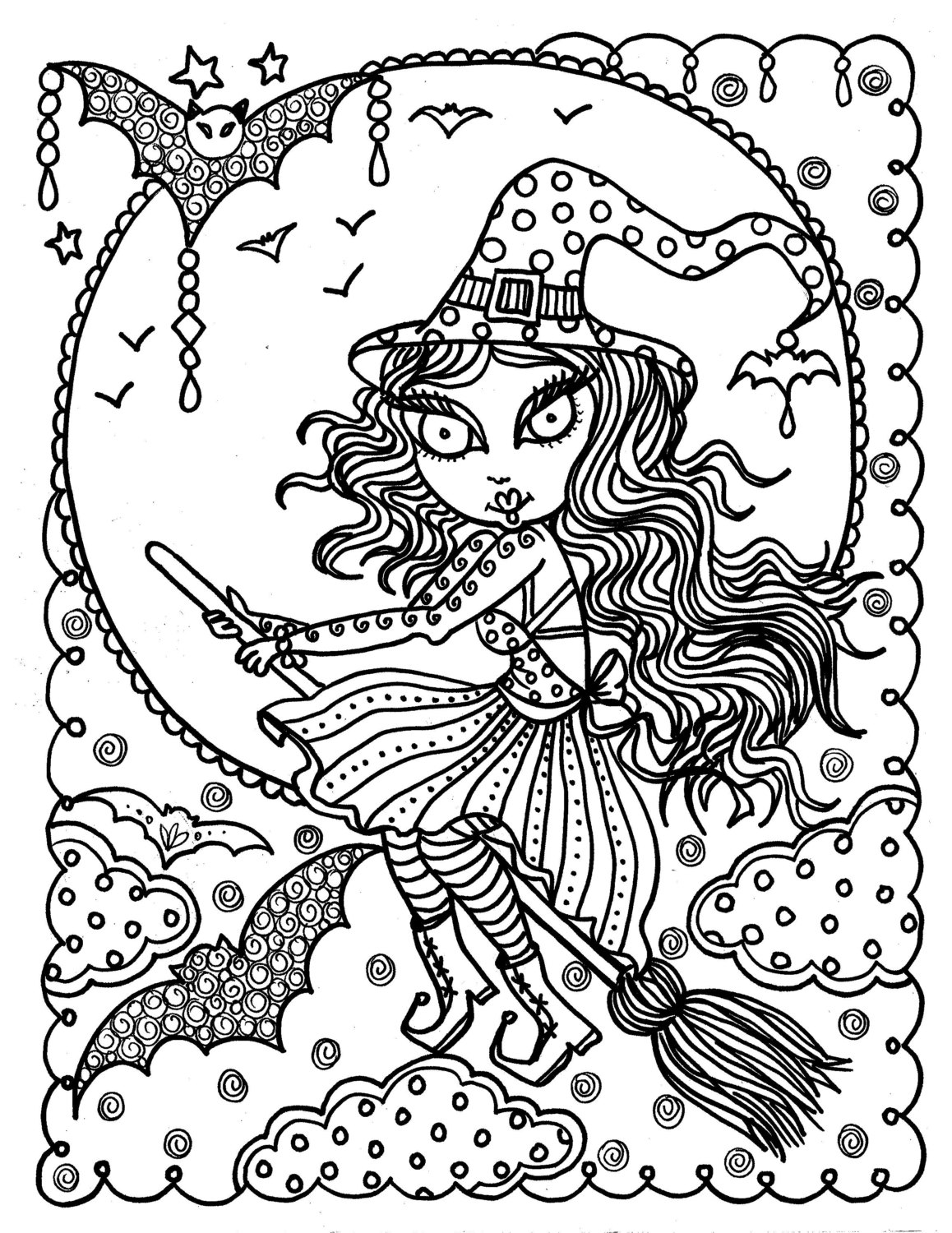 cute halloween coloring pages cute little witch cooking a potion in a cauldron halloween halloween coloring pages cute
