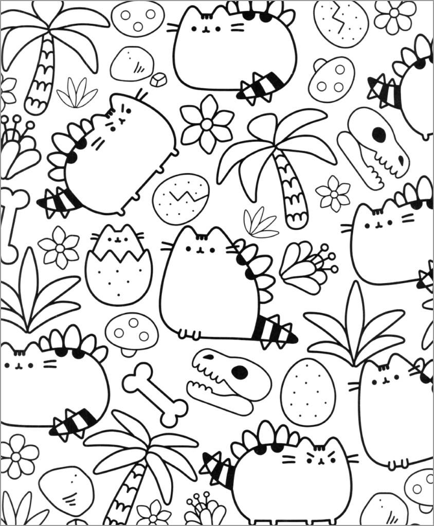 donut pusheen cat coloring pages pusheen autumn coloring page coloringbay pusheen donut cat coloring pages
