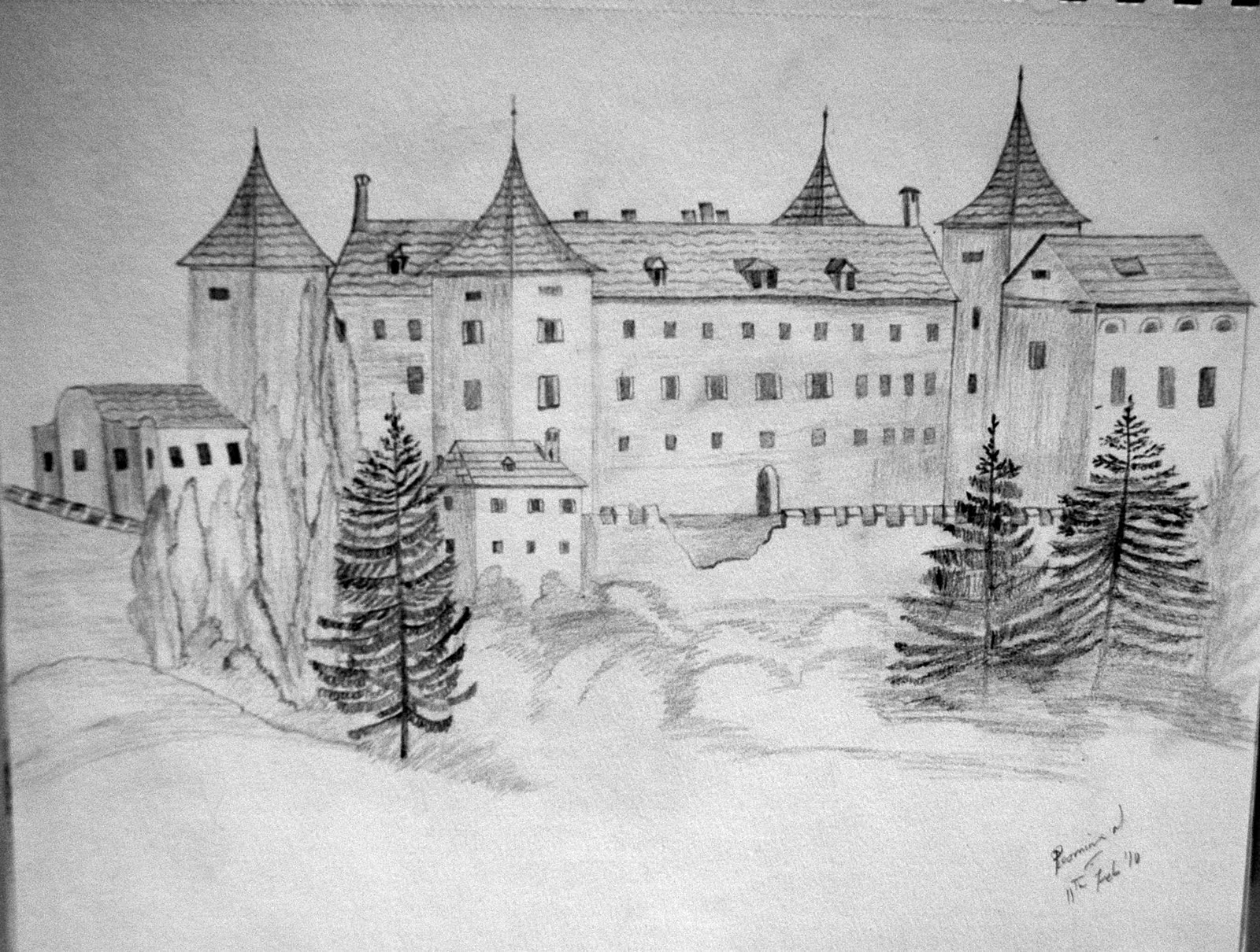 drawing castles experiments with brushes and strokes pencil sketching drawing castles