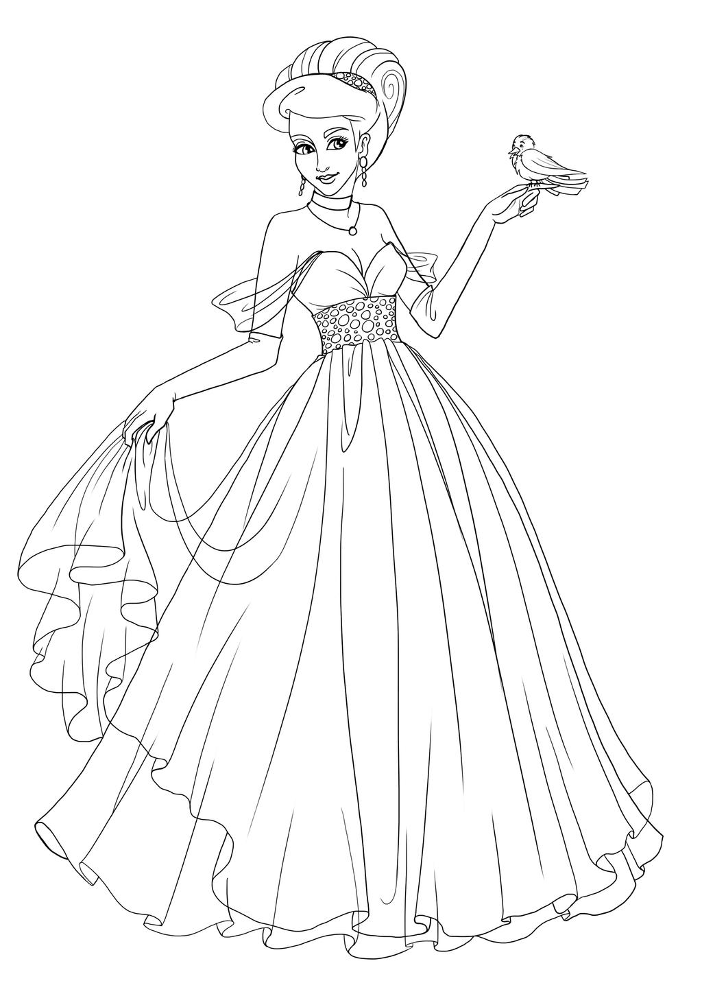 drawing of a princess commission princess saria lineart by paola tosca on princess drawing a of