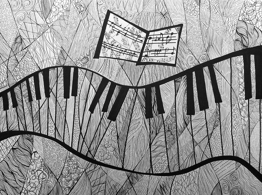 drawing piano fractured piano pen and ink drawing painting by ashley grebe piano drawing
