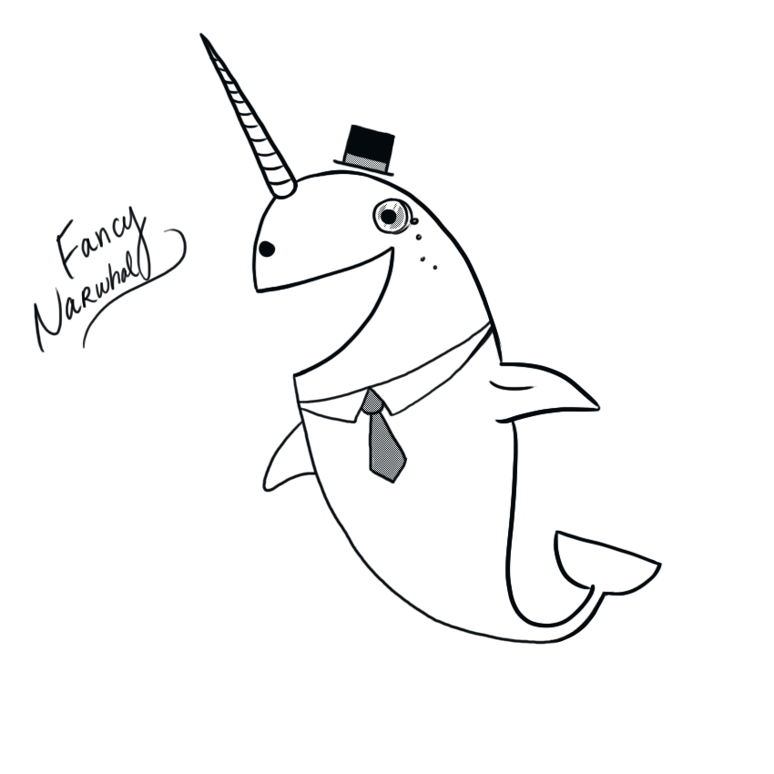 drawings of narwhals filenarwhal psfpng wikimedia commons drawings of narwhals