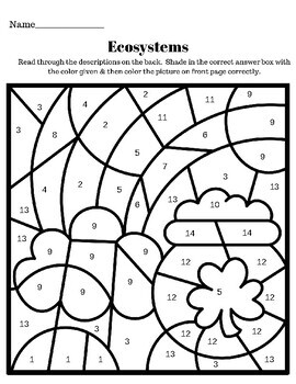 ecosystem coloring worksheet pdf ecosystems st patrick39s day seasonal color by number tpt pdf worksheet ecosystem coloring
