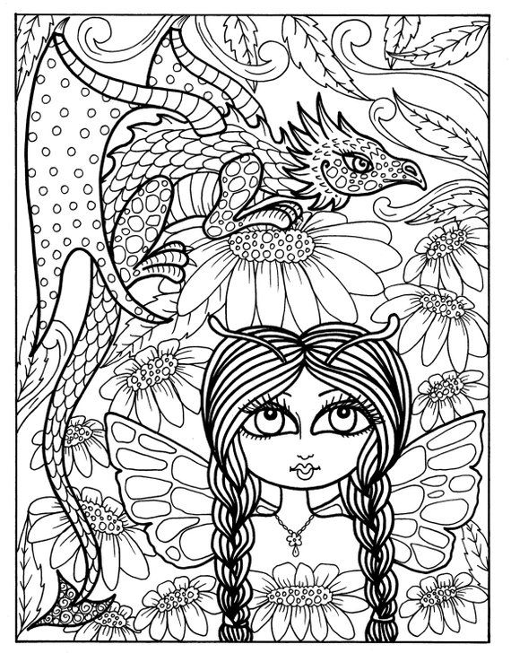 fairy and dragon coloring pages coloring page fairy and dragon by coloryourfantasy on etsy fairy coloring and pages dragon