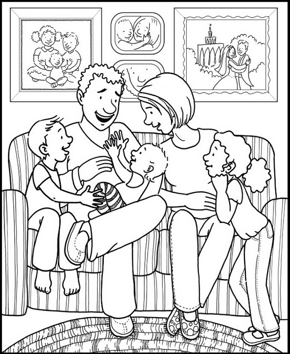 family coloring pages family in living room coloring page for children family pages coloring