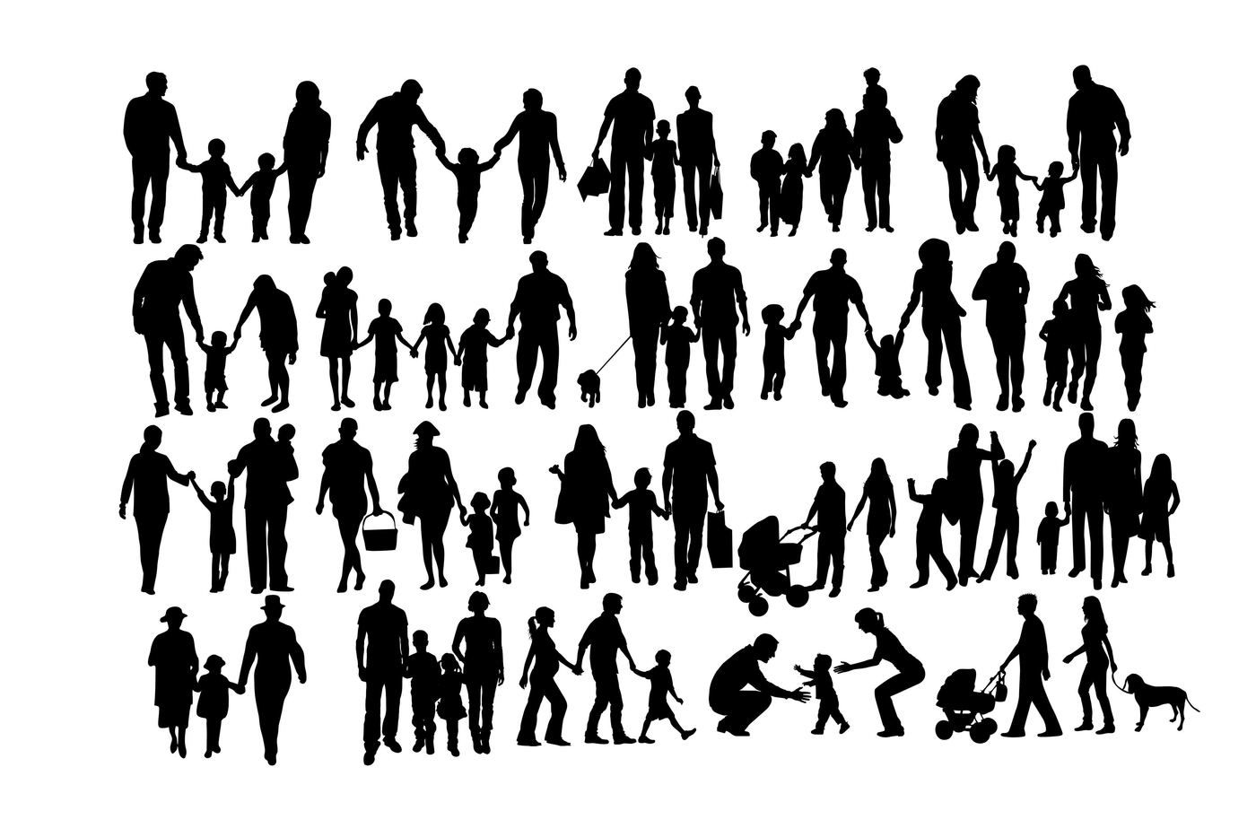 family of 5 silhouette family of five silhouette at getdrawingscom free for 5 silhouette of family