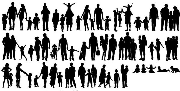 family of 5 silhouette people silhouette png download 688800 free of 5 silhouette family