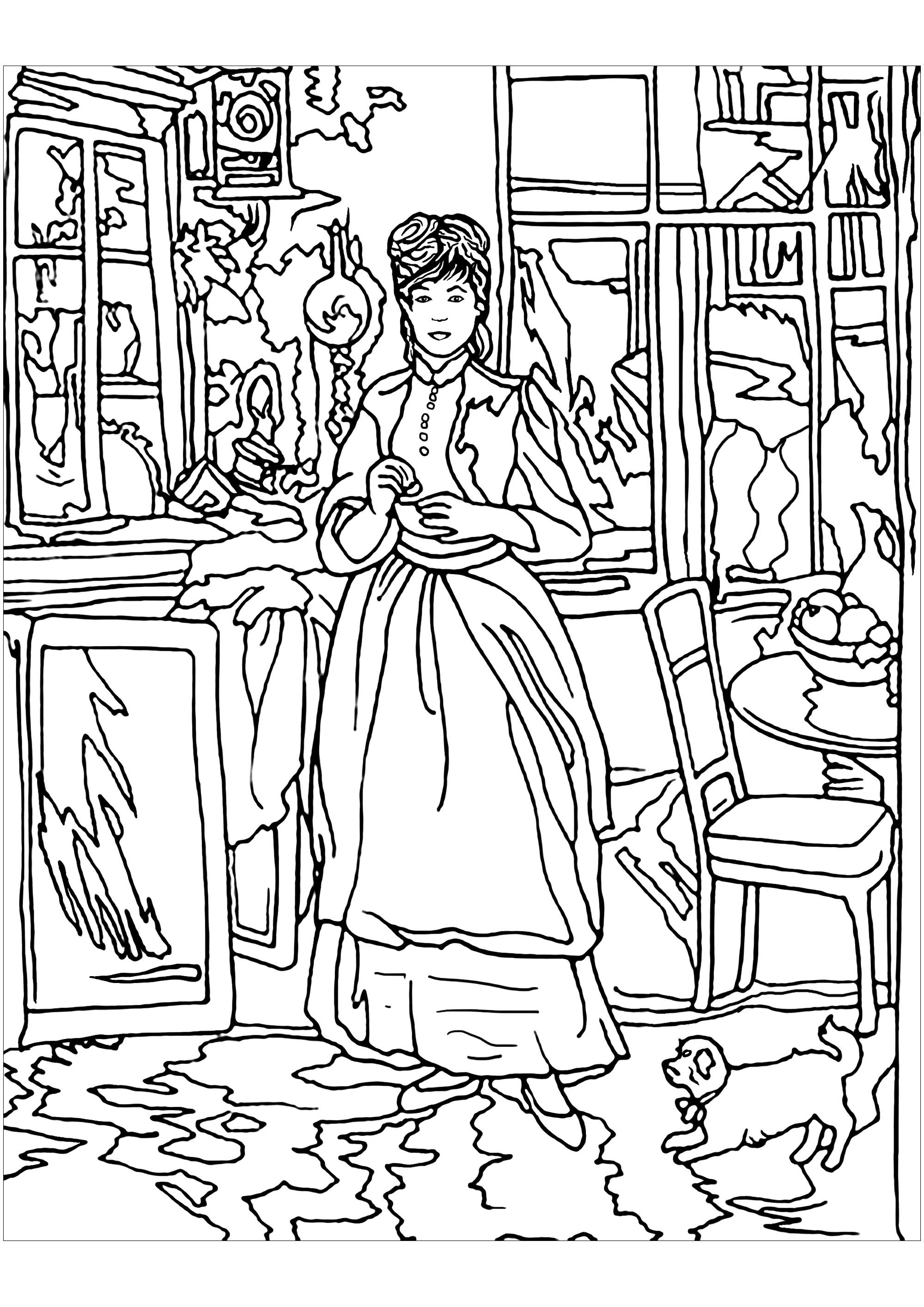 famous painting coloring pages berthe morisot in the dinning room masterpieces painting pages famous coloring