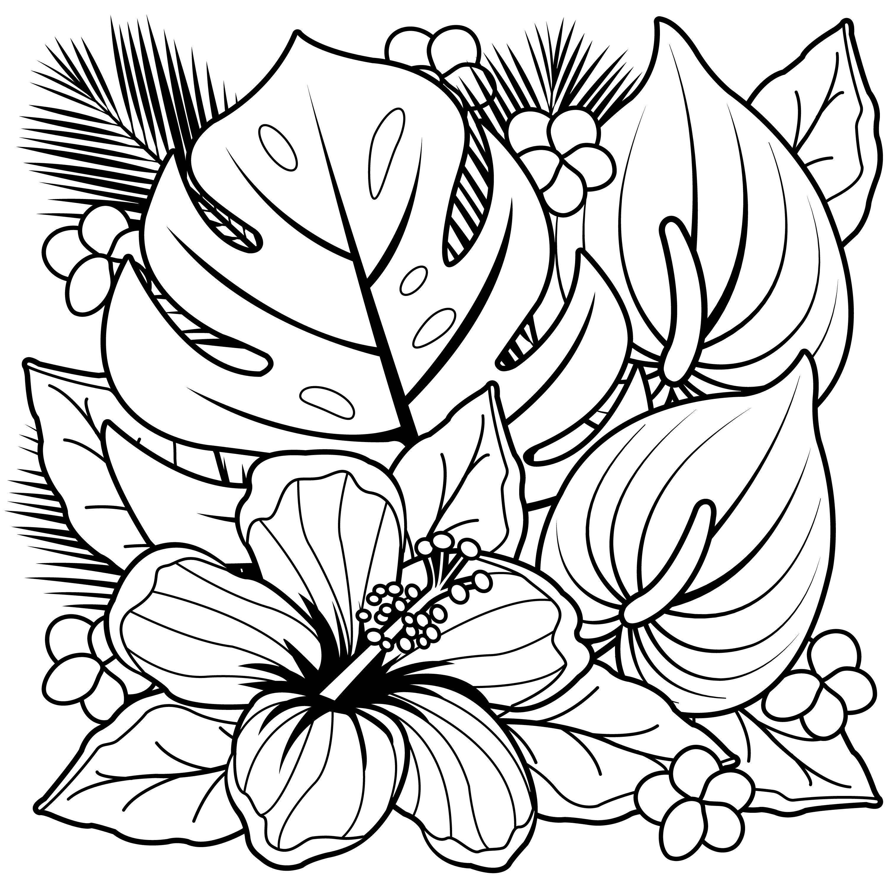 flower coloring book pages coloring pages hawaiian flowers collection free coloring book pages flower coloring
