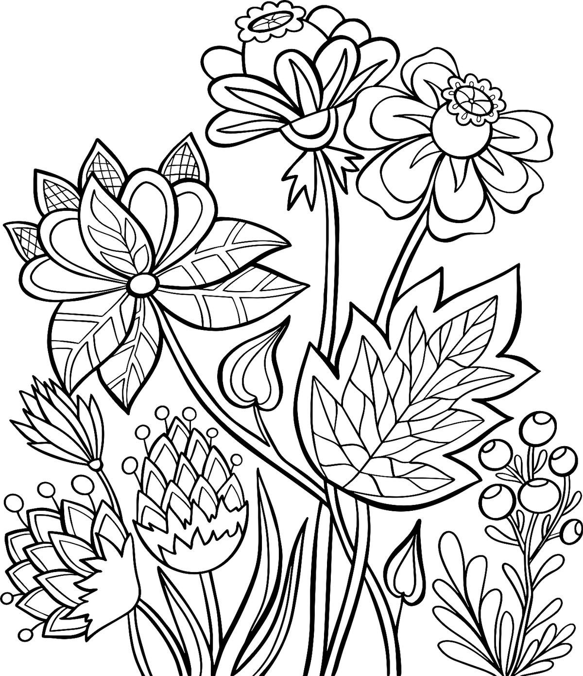 flower coloring pages to print coloring pages of flowers for teenagers difficult free to coloring flower pages print