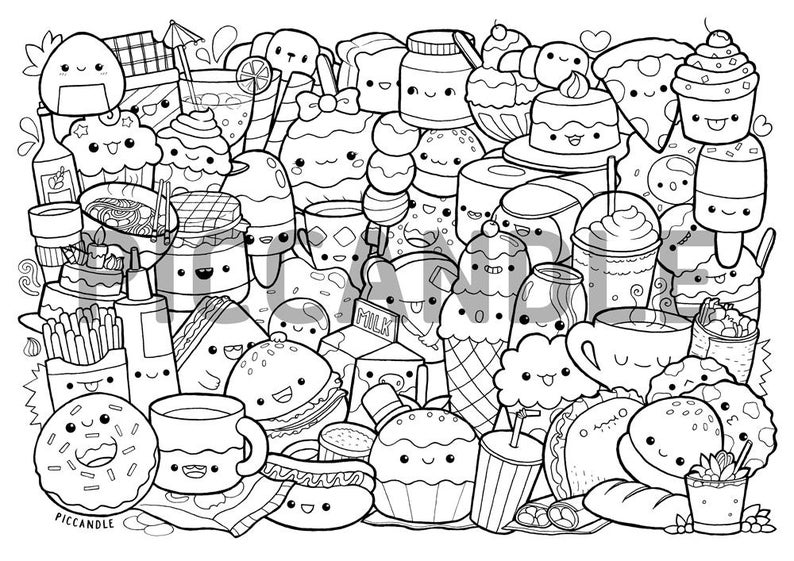 food pictures to colour foods doodle coloring page printable cutekawaii coloring pictures to colour food