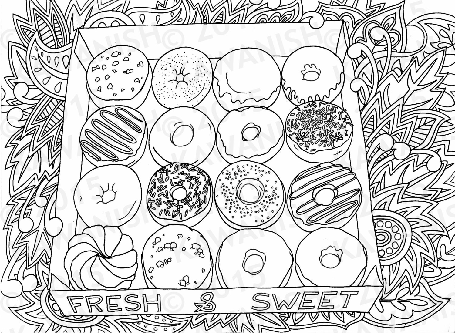 food pictures to colour variety decorated donuts colouring pages picolour to food pictures colour