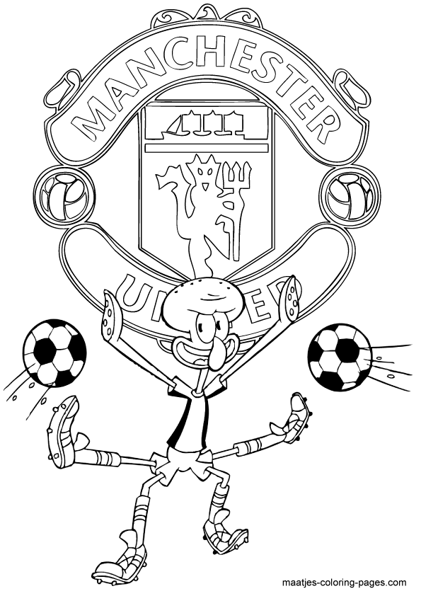 football team coloring pages manchester united squidward playing soccer free printable pages football team coloring