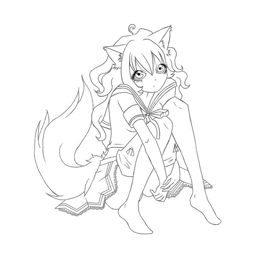 fox anime girl coloring pages chibi fox girl anime coloring pagejpg 600825 coloring pages anime girl fox