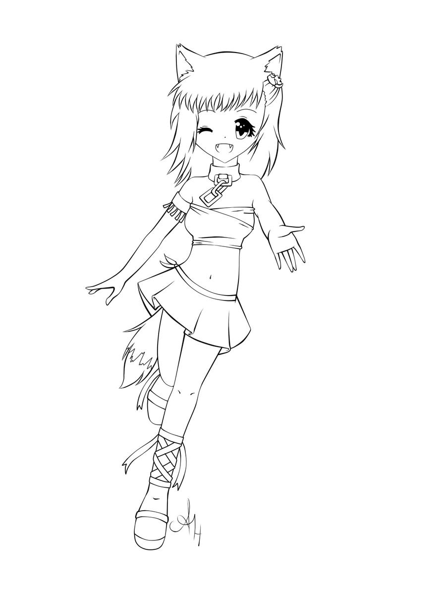 fox anime girl coloring pages chibi fox girl lineart by joakaha on deviantart anime pages girl coloring fox