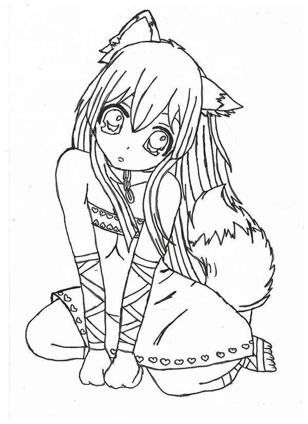 fox anime girl coloring pages fox girl chibi lineart by yampuff on deviantart coloring pages anime girl fox