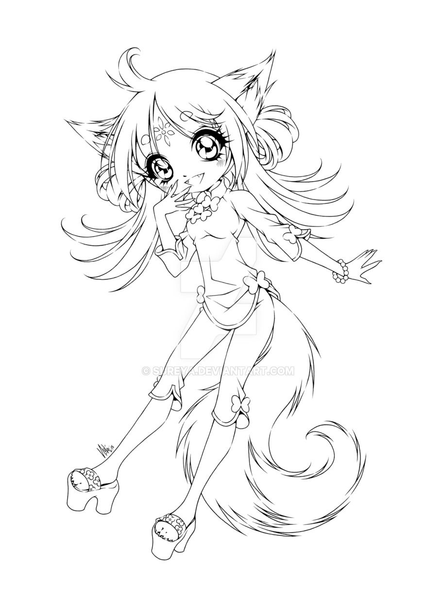 fox anime girl coloring pages fox girl lineart by joakaha on deviantart anime girl fox coloring pages