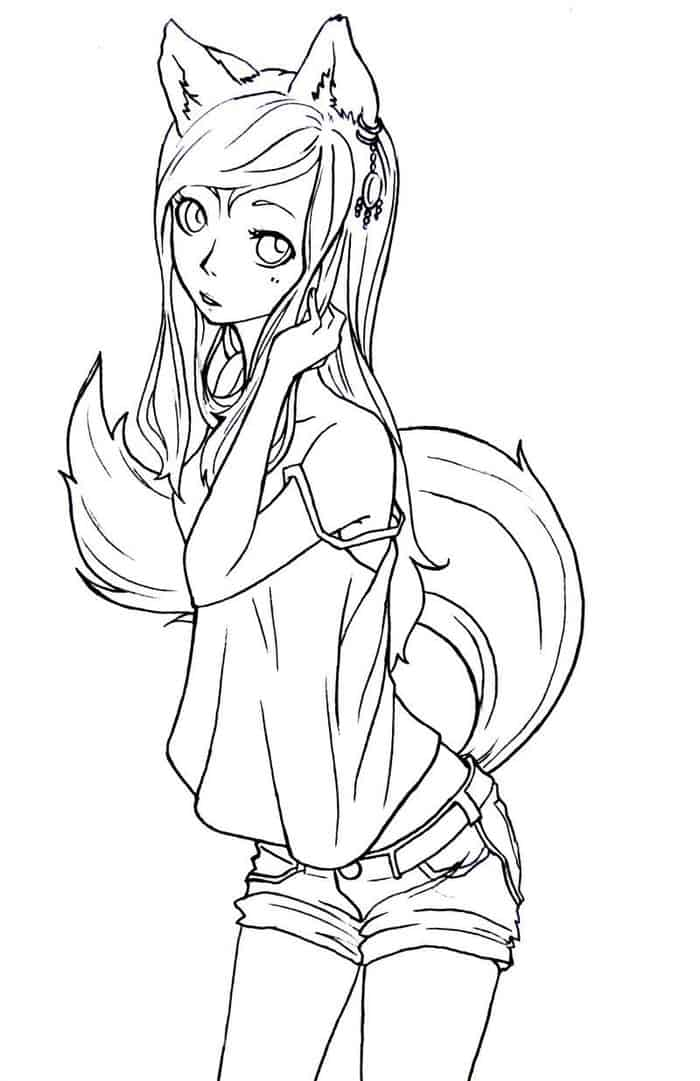 fox anime girl coloring pages poko fox lineart by futurediary on deviantart coloring anime fox pages girl