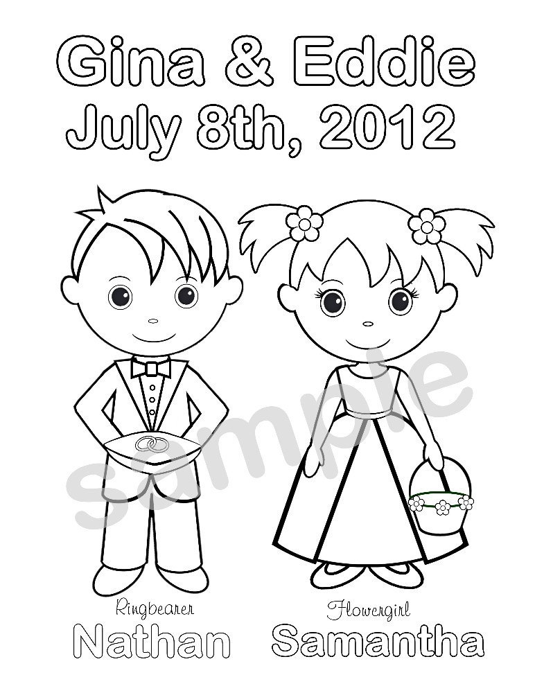 free personalized wedding coloring pages personalized printable bride groom wedding party favor pages coloring free wedding personalized