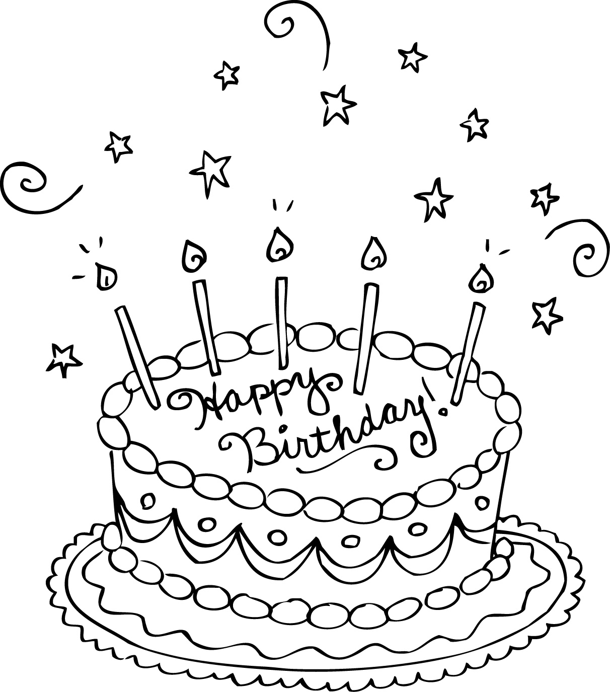 free printable coloring birthday cards cute birthday card with big cake coloring page for kids free coloring birthday printable cards