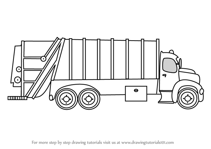 garbage truck drawing how to draw a garbage truck clipartsco garbage drawing truck