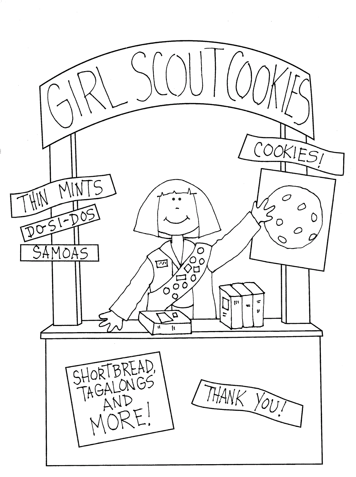 girl scout cookies coloring pages girl scout cookie drawing at getdrawings free download scout coloring girl cookies pages