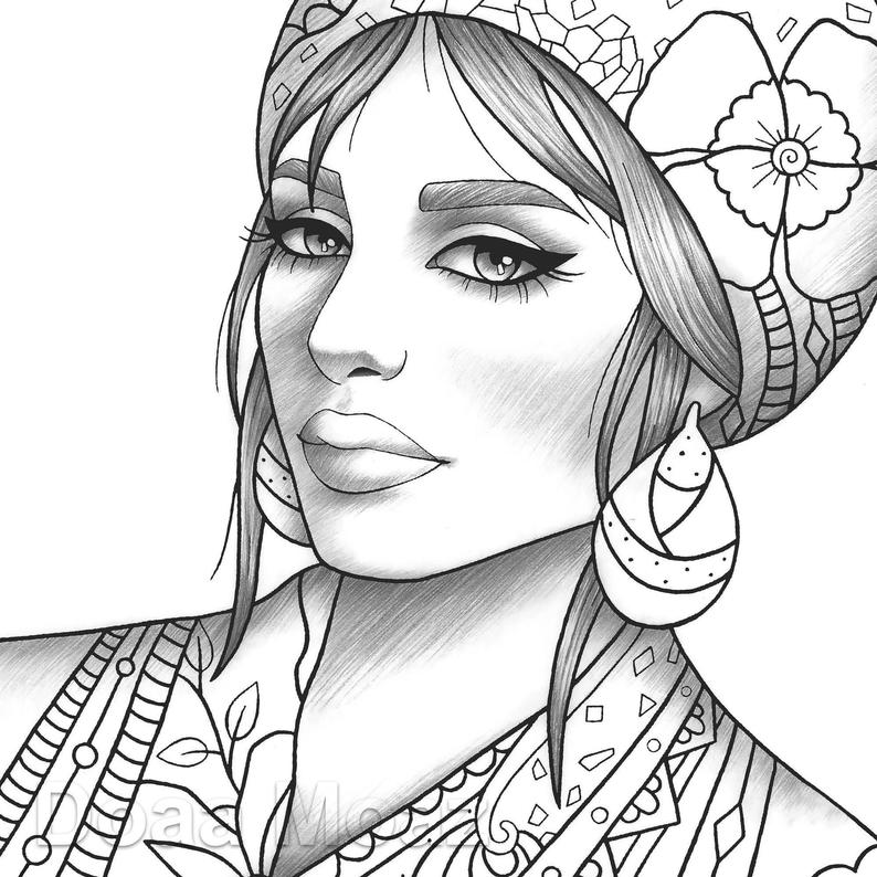 girls coloring adult coloring page girl portrait and clothes colouring girls coloring