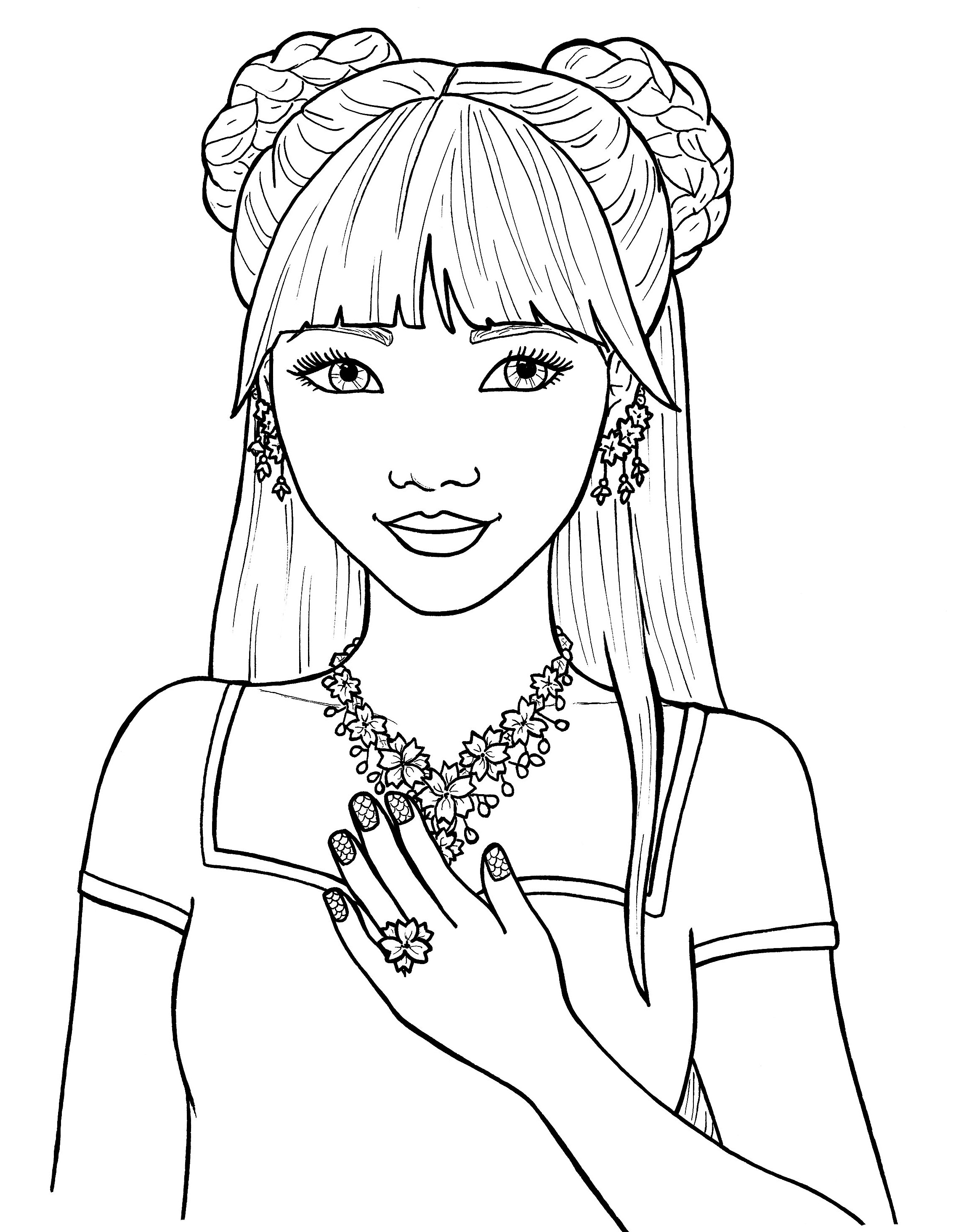 girls coloring adult coloring page girl portrait and leaves colouring coloring girls