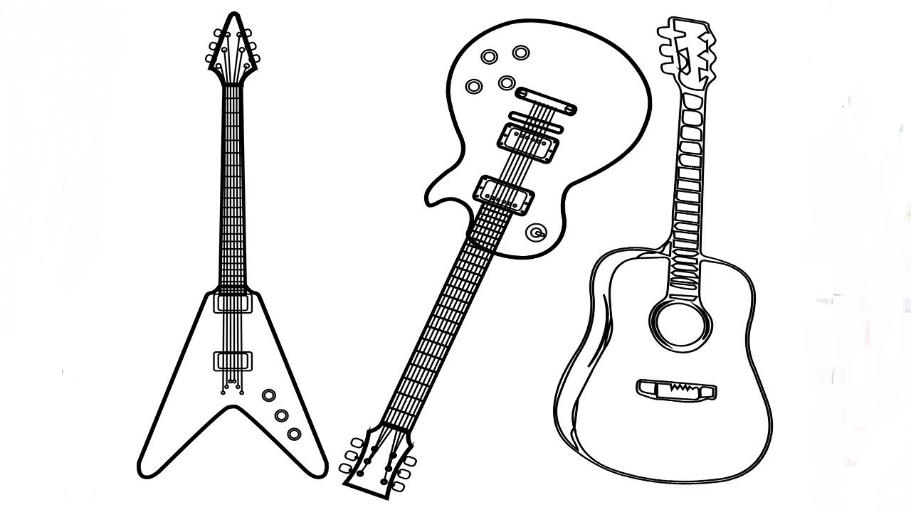 guitar coloring picture three types of guitar coloring page free printable coloring picture guitar