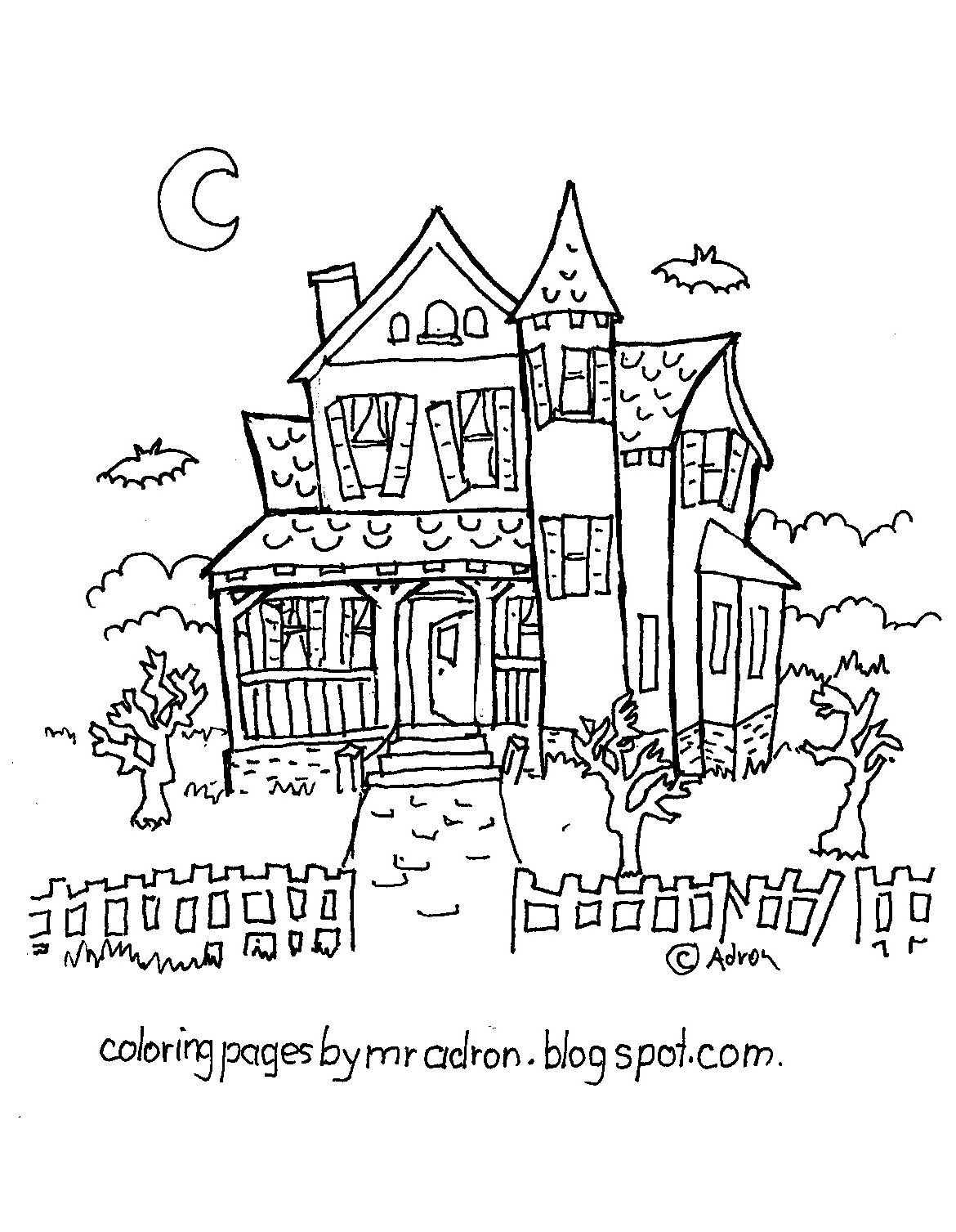 haunted house coloring pages for kids haunted house coloring pages 5 free printable coloring haunted for pages coloring house kids