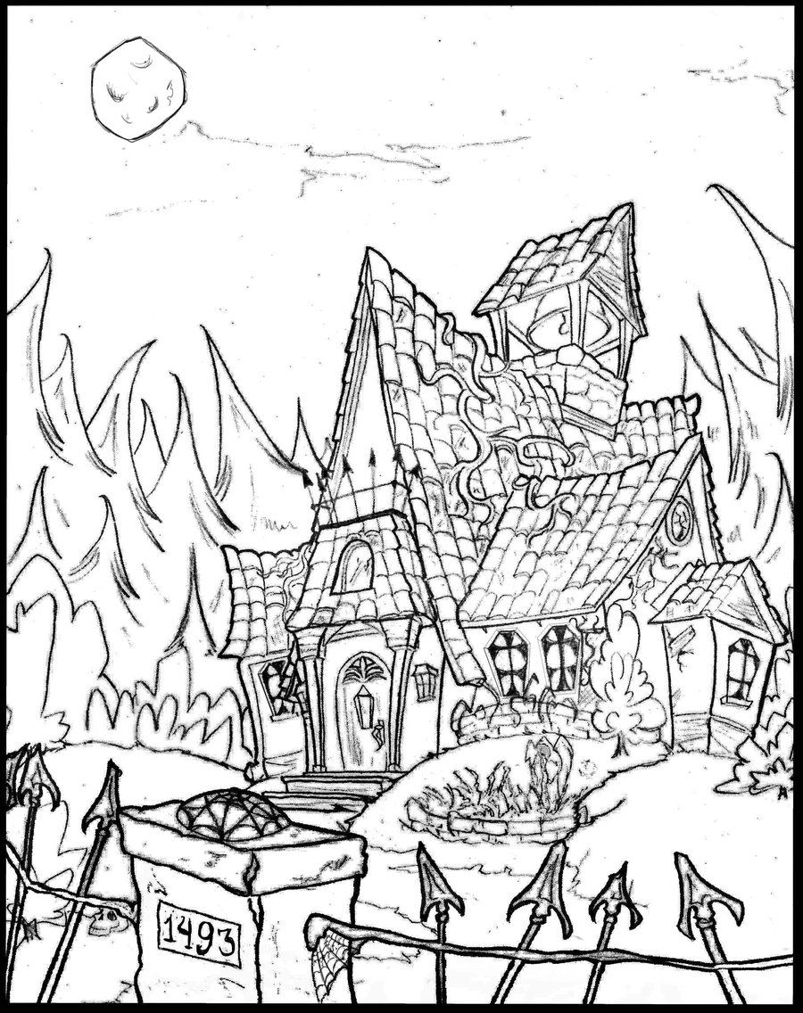 haunted house printable coloring pages scary haunted house coloring pages download and print for free house haunted printable coloring pages