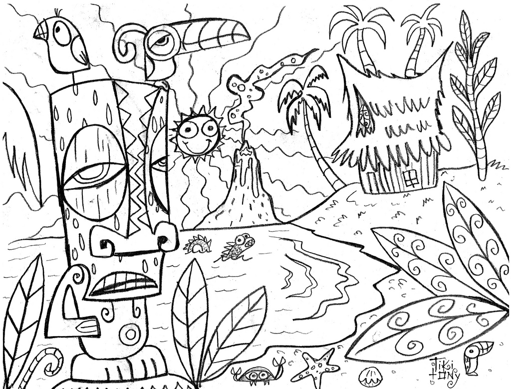 hawaiian pictures to color fantasy jr parrot luau coloring page kids luau hawaiian to color pictures