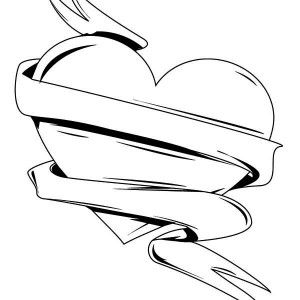 heart with ribbon coloring pages heart and ribbon coloring page heart pages with ribbon coloring