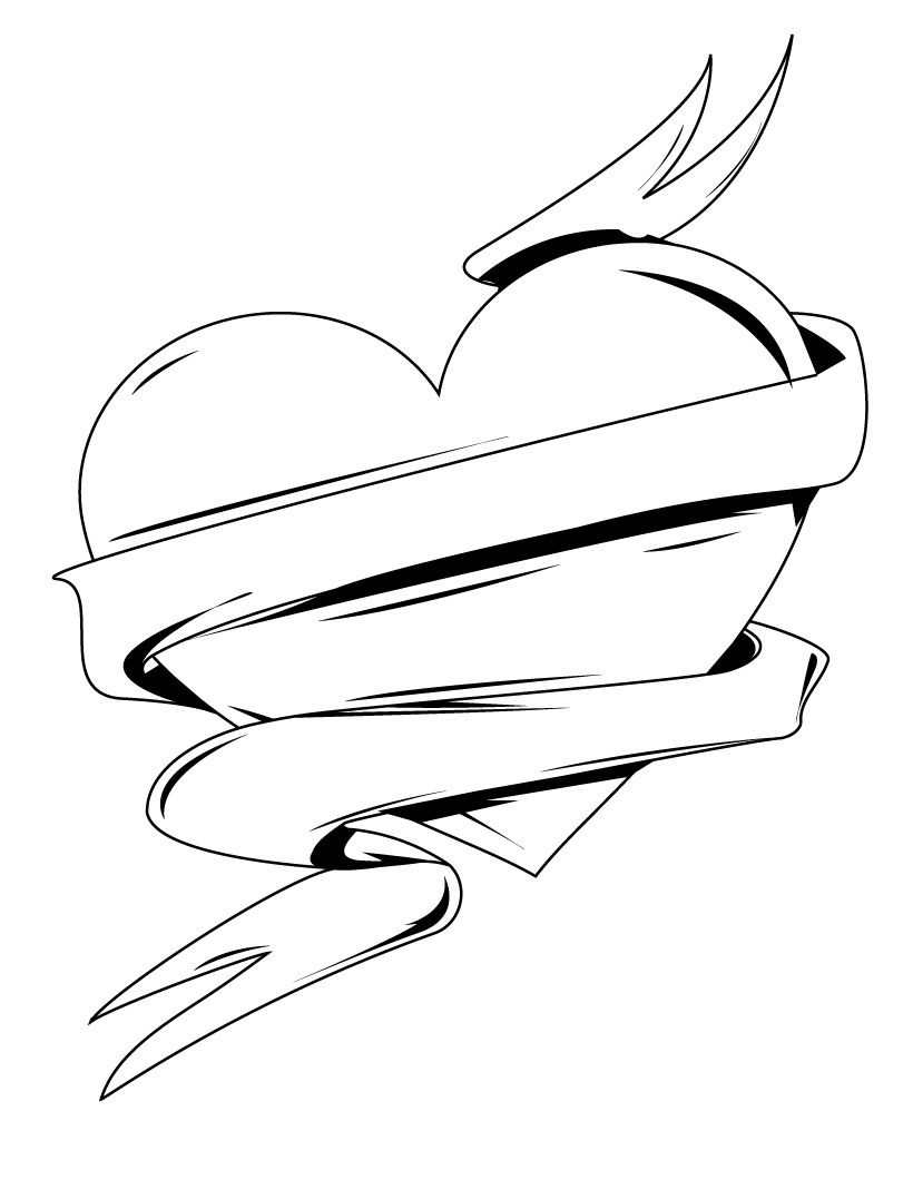 heart with ribbon coloring pages hearts with ribbons coloring pages heart coloring pages coloring ribbon pages with heart