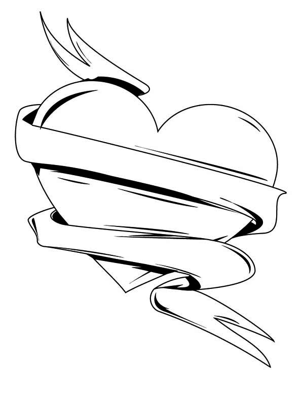 heart with ribbon coloring pages two hearts wrapped in a ribbon coloring pages for kids coloring ribbon with heart pages