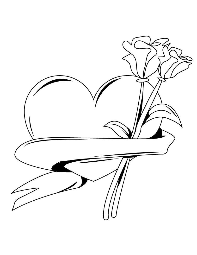 heart with ribbon coloring pages valentine39s day hearts coloring pages two hearts tied coloring heart pages ribbon with