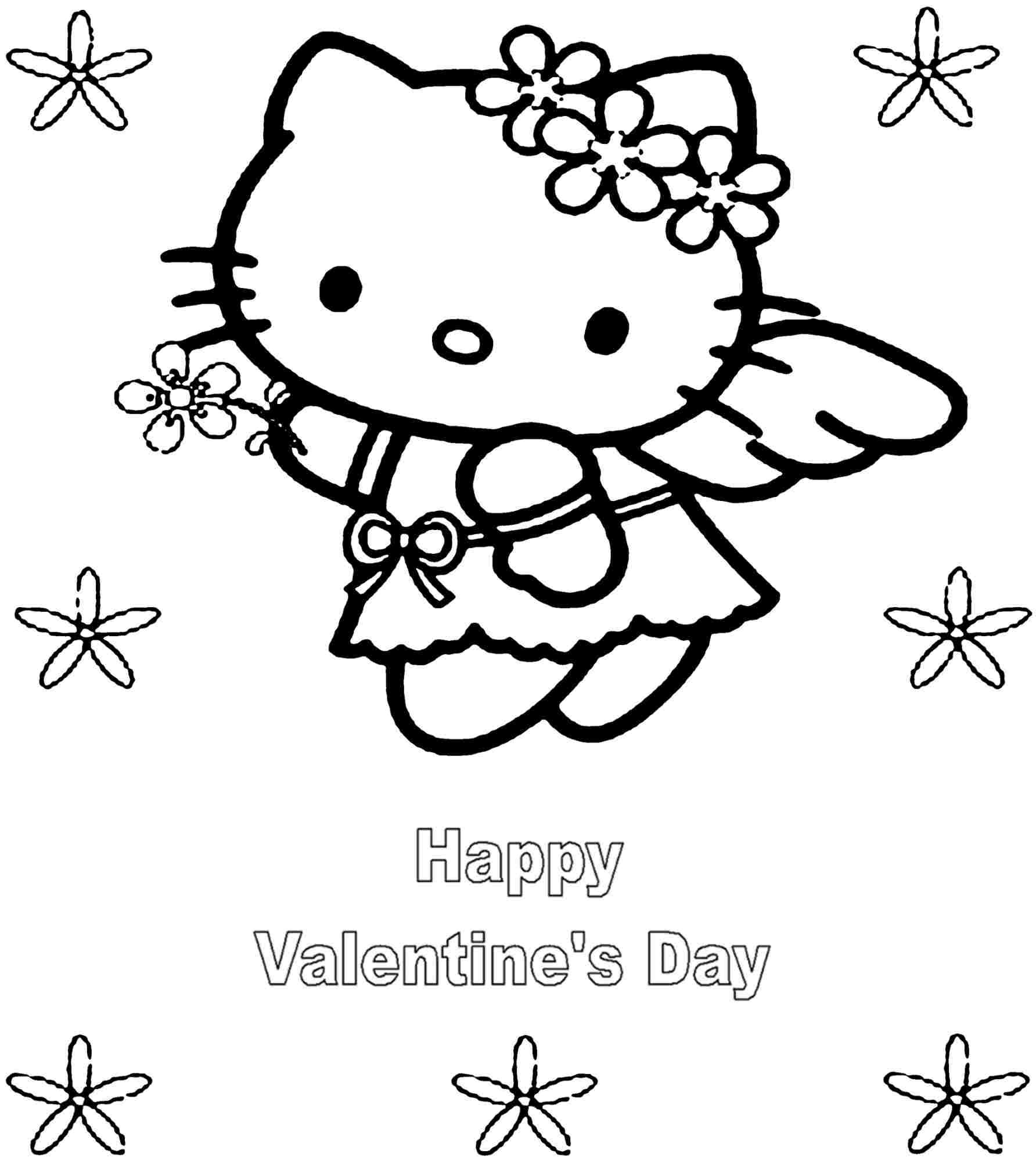 hello kitty valentines day coloring pages print hello kitty coloring pages angle hello kitty angel kitty day valentines pages coloring hello