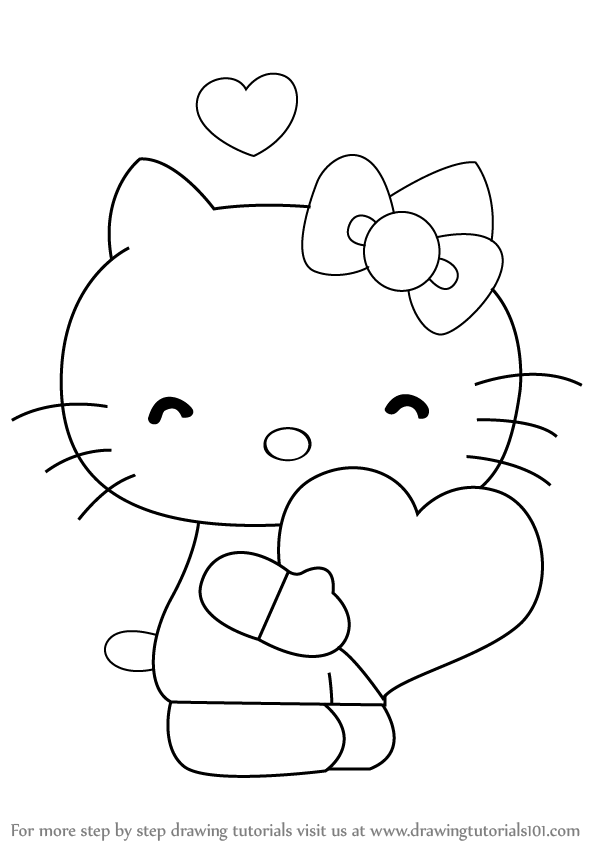 hellokitty drawing learn how to draw hello kitty with heart hello kitty drawing hellokitty