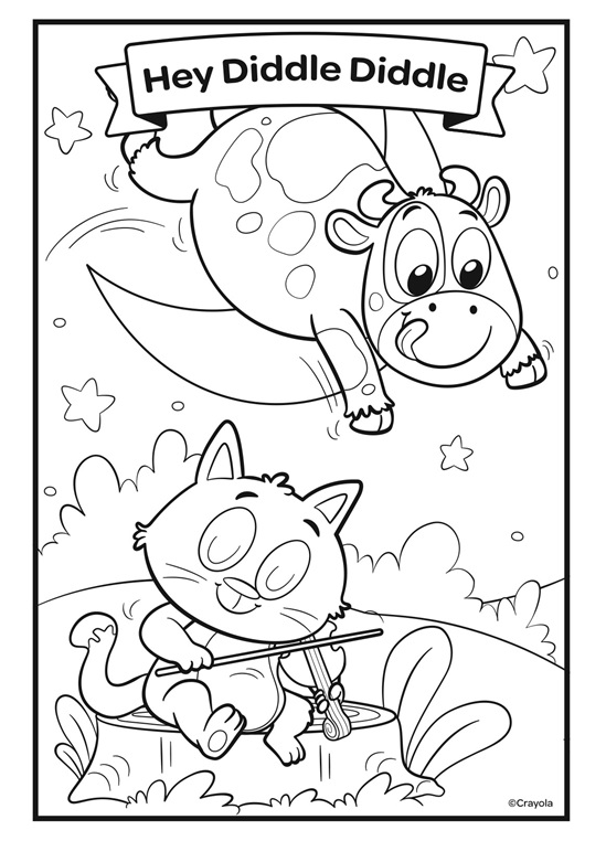 hey diddle diddle coloring page free printable coloring page depicting the nursery rhyme page diddle coloring hey diddle