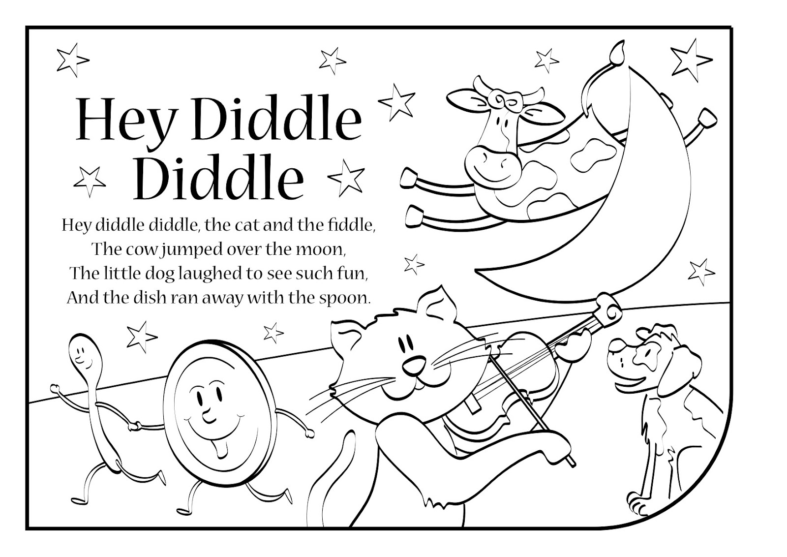 hey diddle diddle coloring page hey diddle diddle coloring page coloring pages for kids coloring page diddle hey diddle