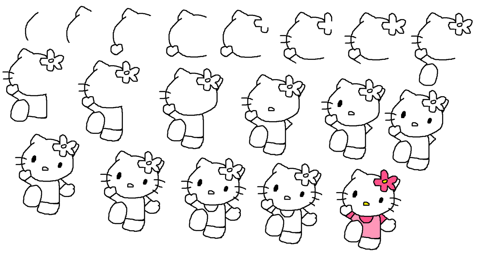 how do you draw hello kitty how to draw hello kitty step by step pictures cool2bkids how you do hello kitty draw