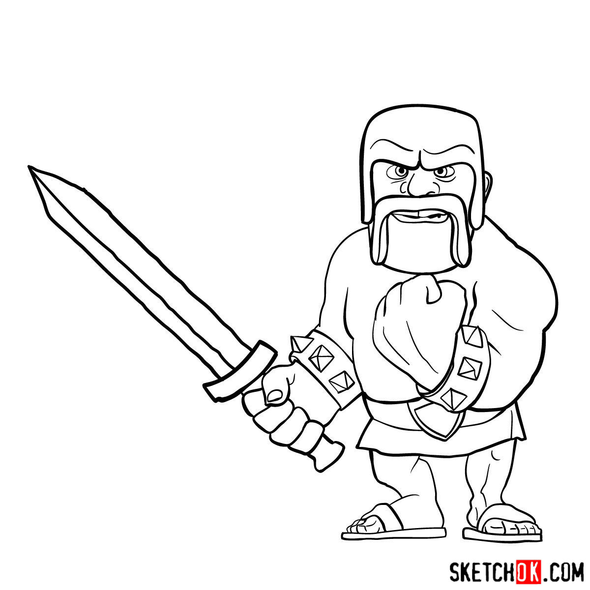 how to draw a barbarian how to draw clash of clans barbarian king drawingnow draw how barbarian a to