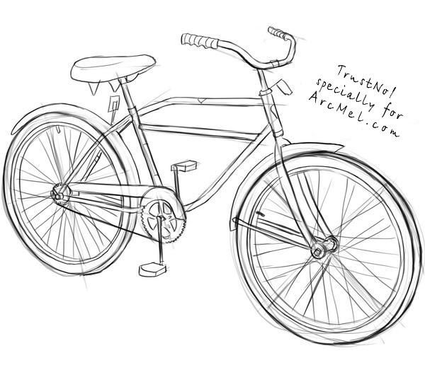 how to draw a bmx bike bicycle pencil drawing at getdrawings free download to a bike draw bmx how