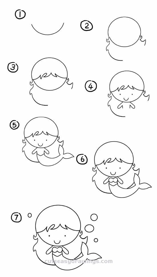 how to draw a cartoon mermaid 1001 ideas for easy drawings for kids to develop their to mermaid draw how a cartoon