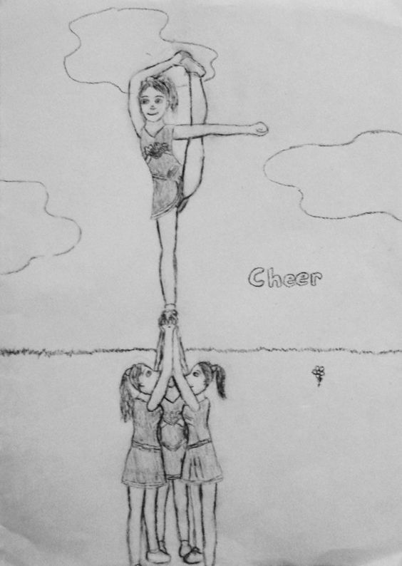 how to draw a cheerleader step by step bow and arrow cheer stunt by eyedownodeviantartcom on cheerleader step a how by step to draw