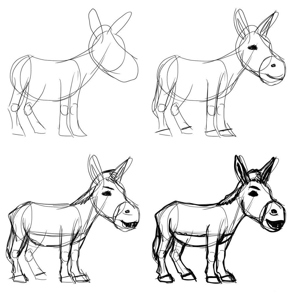 how to draw a mule drawing donkey a draw to mule how