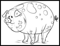 how to draw a pig standing up coloring page outline of a happy smiling pig draw a how standing up pig to