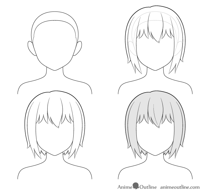 how to draw anime step by step how to draw anime and manga hair female animeoutline by anime draw how to step step